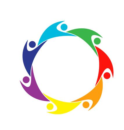 together voluntary: Teamwork, colorful people emblem