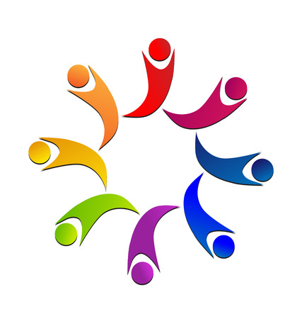 together voluntary: Teamwork colorful children icon