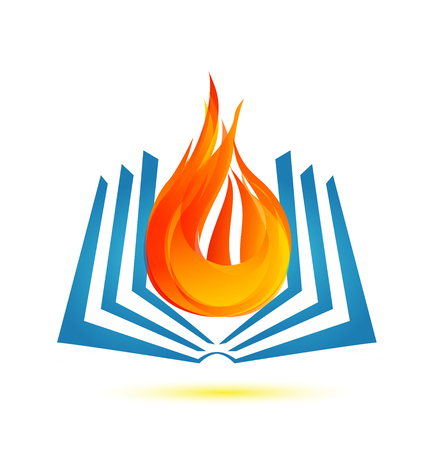 Book on fire flame icon logo