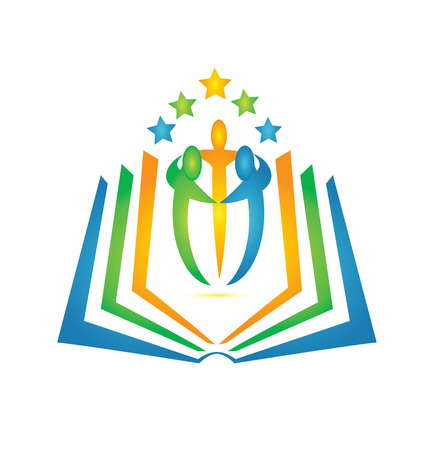 Book and students teamwork logo on a colorful presentation. Ilustração