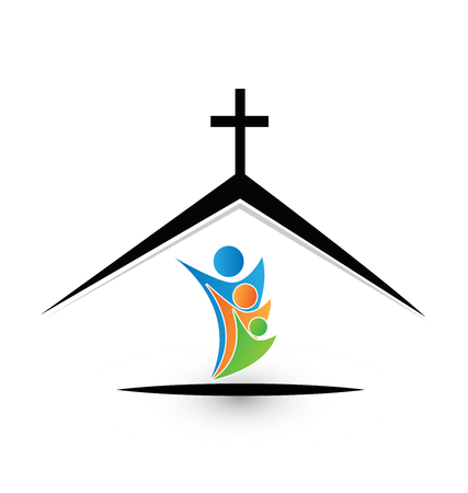 Family in church icon logo on a colorful presentation.