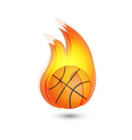 Basketball on fire icon logo