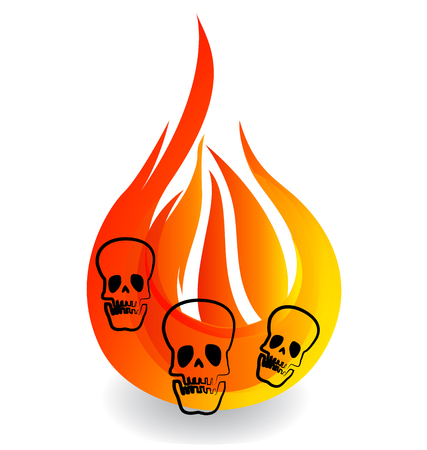 Skulls on fire flame icon.