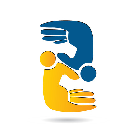 People hand figures teamwork icon. Illustration