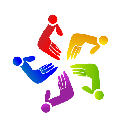 Children teamwork hands icon. Illustration
