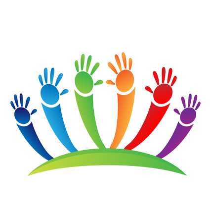 Children painted hands icon. Illustration