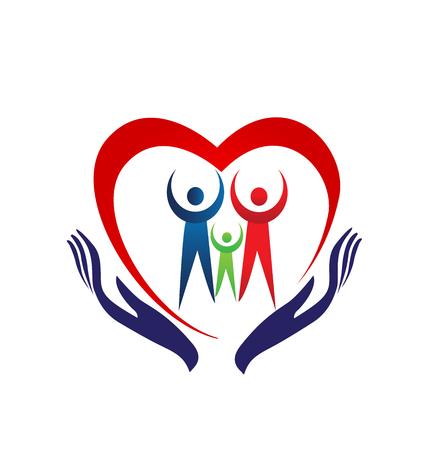 Familie hart houden handen pictogram.