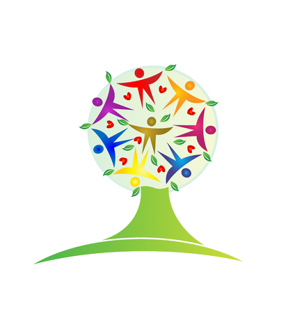 Tree teamwork leaf people figures icon logo. Illustration