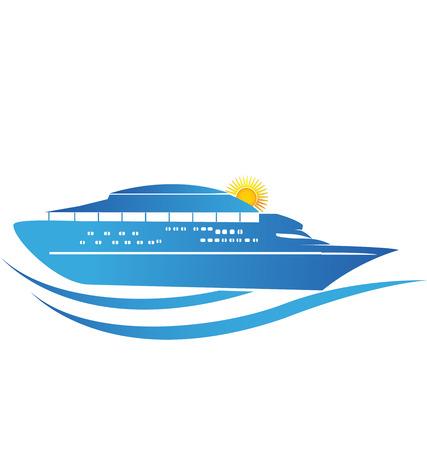 Cruise Ship sunny waves icon.