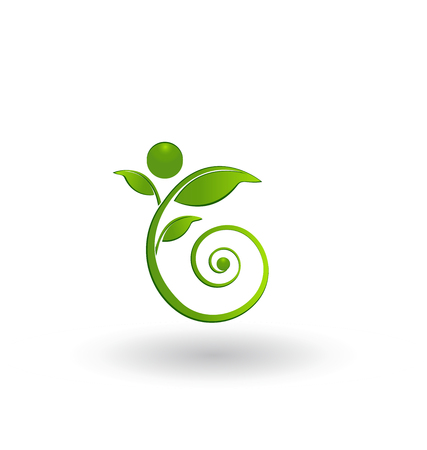 Swirly leaf figure icon logo. Illustration