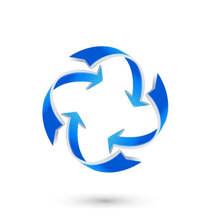 abstract recycle arrows: Blue arrow direction recycle business logo