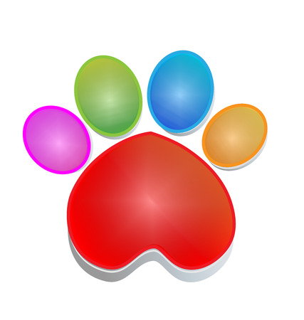 Colorful print paw animal icon Stock Illustratie