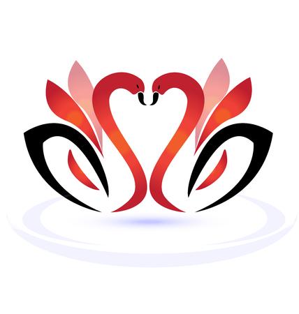Swans in love vector illustration emblem