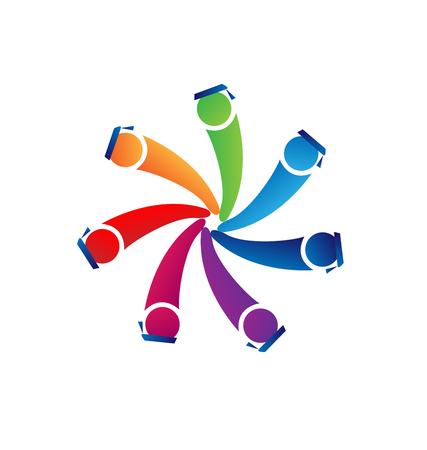together voluntary: Teamwork graduates with cap alumni logo vector Illustration