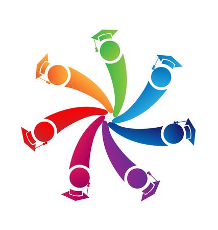 キャップ同窓会ロゴのベクトルを持つチームワーク卒業生