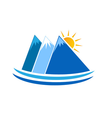 wilderness area: Blue mountains wilderness nature icon vector logo