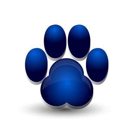 青い犬の足跡足アイコンをロゴ