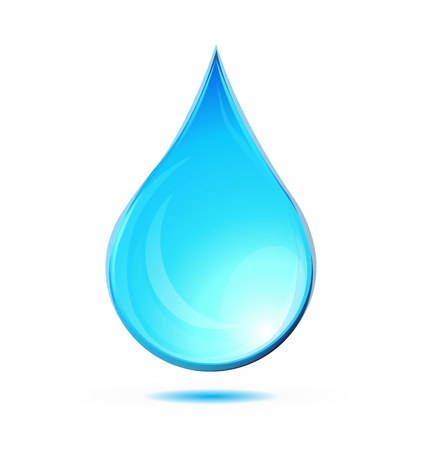 Water, tear, rain drop icon logo illustration with shadow, isolated o white backgroud Çizim