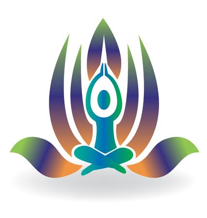 Yoga man meditation lotus icon logo