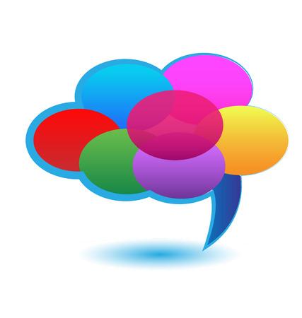 Cloud of multi color speech bubbles icon vector illustration