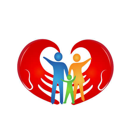 Loving family with hands coming together vector logo