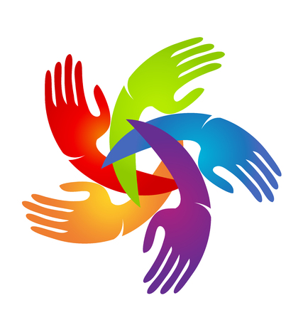 Hands of people coming together for change vector logo