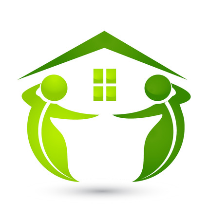 Environment friendly house with green figures icon
