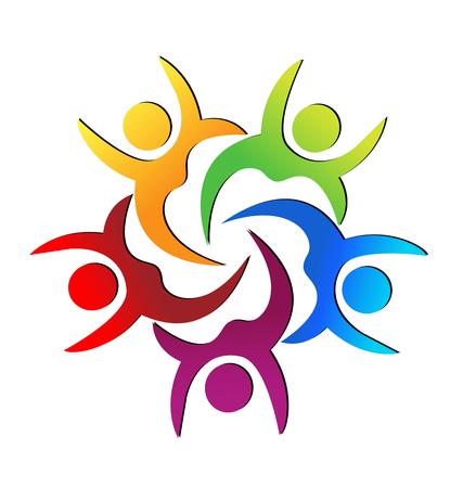 Teamwork colorful people raising hands, vector.
