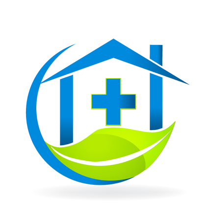 Blue house with a medical cross above a green leaf. Vector symbolizes hospital  and pharmacy.