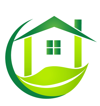 Green house with leaf business vector logo Ilustrace