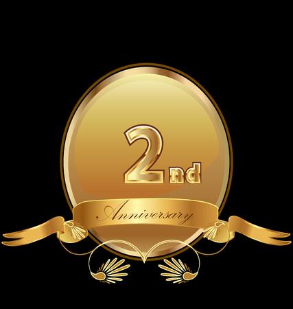 2nd golden anniversary seal icon vector Illustration