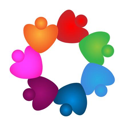 Teamwork heart people in love vector illustration
