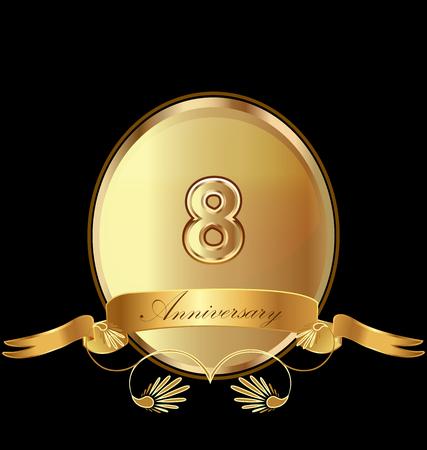 8th golden anniversary seal icon vector Stock Illustratie