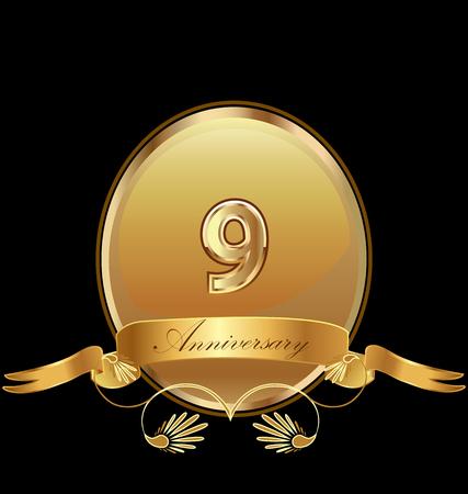 9th golden anniversary seal icon vector