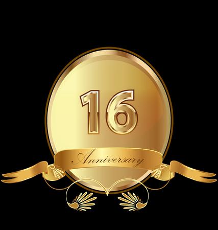 16th golden anniversary seal icon vector
