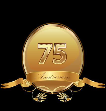 75th golden anniversary birthday seal icon vector Illustration