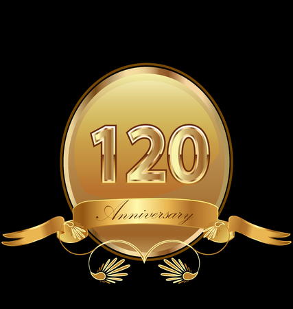 120th golden anniversary birthday seal icon vector Standard-Bild - 95770087