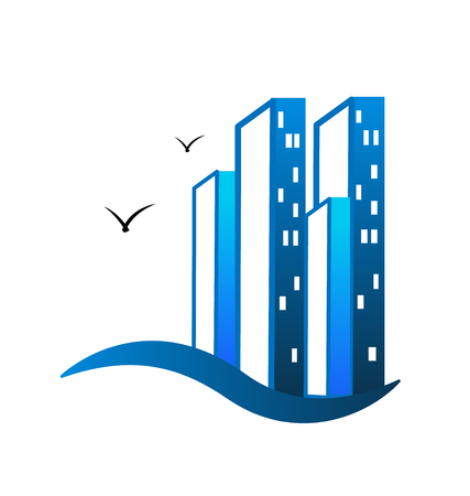 Life in the city, apartment house real estate icon vector