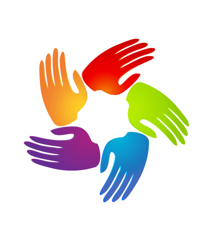 Colorful caring supportive hands icon vector
