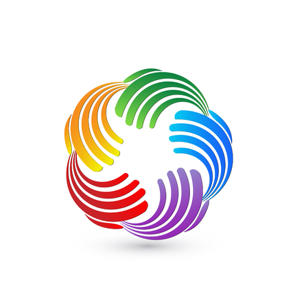 Teamwork colorful abstract hands, icon vector Illustration