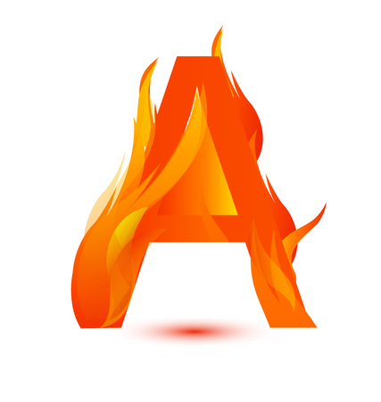 Letter A in flames icon vector