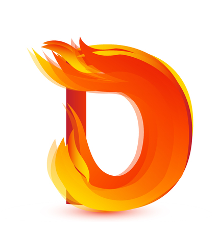 Letter D in flames icon vector