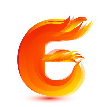Letter E in flames icon vector Archivio Fotografico - 95972439