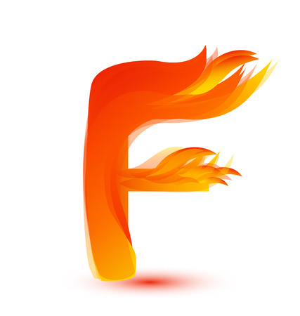 Letter F in flames icon vector