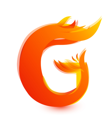 Letter G in flames icon vector 向量圖像