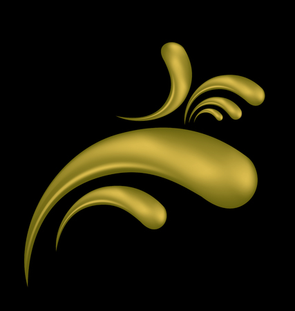 Gold swirly floral vector icon Banque d'images - 95971683