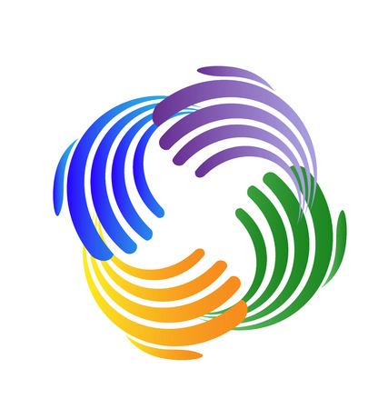 Mains abstraites colorées de travail d'équipe, icône illustration vectorielle.