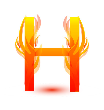 Letter H in fire flame icon vector illustration.