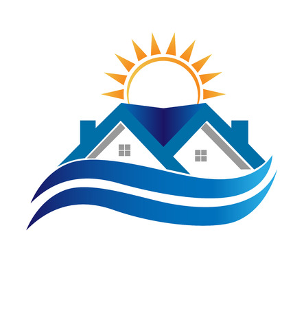 Blue house with waves vector illustration icon illustration.