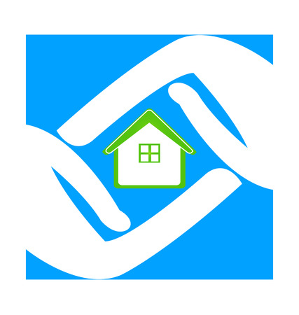 House care, with protecting hands. icon vector illustration. Illustration